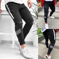 Marka Yeni Erkek Yırtık Baskılı Kot Erkek Streç Stiletto Jeans Moda Kalite Pantolon Erkekler için S-3XL