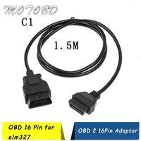 Yeni 12 Tip 5 M OBD 16 Pin Ince OBD2 OBD OBDII AUTO Araç Uzatma Kablosu ile Anahtar Tipi Adaptörü Konnektörü ELM3271