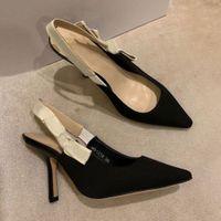 Été talons hauts en cuir sandales femmes tout match chaussures pour femmes de la mode sangle de la couleur unie chaussures pointues chaussures de mariage