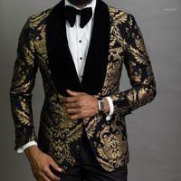 Золотые Жаккардовые Мужчины Костюмы Шаль Отворачивается Slim Fit Groom Tuxedo Мужской Модный Костюм выпускного Костюма Blazer Жилет с штанами1