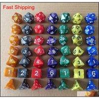7pcs / Set Creative RPG jeu DIC DD Coloré Multicolor Dice Mixed Blanc D4 D6 D10 D1 QYLASP CELLIPS2011