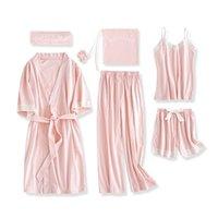 Июльская песня 7 штук Pajamas набор 100% хлопок женские пижамы костюмы с длинным рукавом топ эластичные талии брюки лаунджевые сочетания 201027