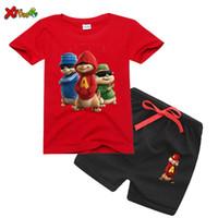 2020 Çocuk T Shirt Setleri Erkek Kısa Kollu Alvin Sincaplar Gömlek Erkek Kız T-shirt Giyim Setleri Alvin Kostüm Çocuk Gömlek Setleri LJ200831