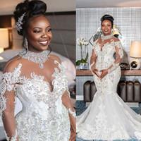 Robes de mariée en cristal plus de taille 2021 Sheer Manches à manches longues en dentelle Perles Sirène Robes de mariée de mariée élégante robe de mariée