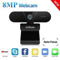 Sriekome 4K FHD 8MP Веб-камера с двойным микрофоном Авто фокус, плагин USB для конференции VDEO, Live Network, дистанционное обучение