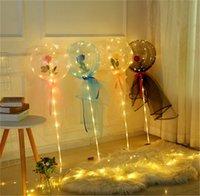 LED leuchtender Ballon Rose Blume Transparente Blase Verzauberte Rose LED Bobo Ball 2021 Valentinstag Geschenke Hochzeits-Party-Dekore E121801