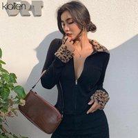KLALIEN cerniera Mosaico leopardo Donne Giubbotti per la donna Cappotto 2020 del collare del turndown nero a maniche lunghe di alta qualità della tuta sportiva