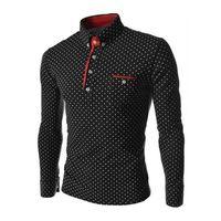 Men's Polos Moda Homens Camisas Top Spring Outono Plus Size Botão de Bolinhas Down Down T-shirt de Manga Longa Slim