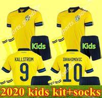 Kids 20 21 Suède Soccer Jerseys Kits 2020 Sverige Accueil Forsberg Maillot de pied Lindelof Guidretti Enfants Boys Football Chemise Uniformes