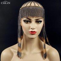 Chrn New Sexy Luxury Moda Donna Punk Multi Layer Metallo Catena Catena Gioielli Bronte Bronta Fascia per capelli Corpo gioielli CRBJ806