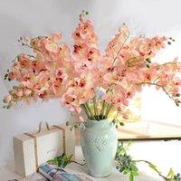 الزهور الزهور أكاليل الديكور فراشة الأوركيد الفلينوبسيس الاصطناعي اللاتكس بساتين الفاكهة زهرة للزفاف الجمال الرئيسية DF02