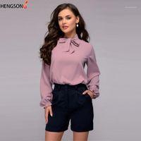 Женщины Блузки Рубашки Hengsong Осень Весна Топы Женщины Мода Дамы Длинные Рукава Повседневная Кружева Боул-Галстук Блуза 2021 Офис Blusas Femin