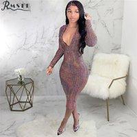 RMSFE 2021 Europa y los Estados Unidos Sexy Fashion Hot Digital Imprimir Vestido en V