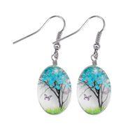 Мода Свежее сухоцветов Серьга Жизнь деревья мотаться серьги Стекло Овальная Ball Drop Ear Творческий подарок ювелирных изделий