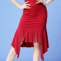 مرحلة ارتداء قاعة المرأة اللاتينية tango slasa الرقص تنورة عالية انقسام الشرابة التدريب اللباس زي x-large1