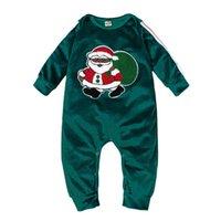Baby Weihnachten Grün Body Grün Sankt Drucken Kinder Overall Kinderkleidung ZXH2214
