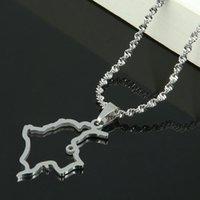 Acciaio inossidabile d'argento di colore Colombia Mappa Collana Trendy Mappa di gioielli colombiana