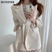 BGTeever Chic Office Ladies Selected Woll Woll Blazer Осень зима 2020 с длинным рукавом пояса Свободные элегантные женские костюмы Jackets1