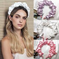 Seda suave plisada para mujer para mujeres burbujas plegable dobladas de peinado de la moda de la calle de la calle Hoop Street Tocado Partido Headwear Turban
