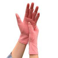 الرجال النساء المفتوحة الأصابع ضغط قفازات الأزياء القطن مرونة اليد آلام علاج العلاج قفازات الرياضة في الهواء الطلق قفازات WQ514