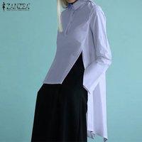 ZANZEA Bayan Düzensiz Zarif Yaz Bluz Yaka Blusas Kadın Bölünmüş Uzun Kollu Casual Gömlek Üstleri 5XL Y200622 Tops