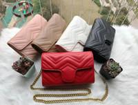 2021 Neue Mode Frauen Marmont Leder Handtaschen Womens Satchel Taschen Kreuz Körper Umhängetaschen Damen Gold Kette Tasche Bolsa Feminina # 60198