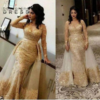 Glitter Gold Evening Gowns Arabic Sheer Long Sleeves Lace Mermaid Prom Dresses V Neck Tulle Applique Over Skirt Formal Party Gowns