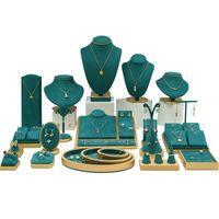 الأخضر ستوكات مجوهرات عرض الدعائم أقراط قلادة حلقة قلادة حامل مجوهرات صينية مجوهرات مكافحة عرض الدعائم مجموعة