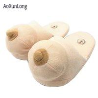 Aoxunlong Kış Terlik Kadın Göğüsler Şaka Ev Terlik Unisex Komik Sarı İnsan Cilt Terlik Çiftler Kapalı Ayakkabı Kadın Y200706