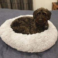 Съемный пончик длинные плюшевые домашние собаки кровать питомник круглые кровать зимой теплый спальный лаунгический дом мягкий для средних больших собак моющийся LJ201028