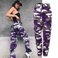 Kadın Camo Kargo Pantolon Vintage Parça Pantolon Yüksekliği Bel Ayak Bileği Uzunlukta Streetwear Kamuflaj Sweatpants Pantolon Pembe Mor S-3XL T200407