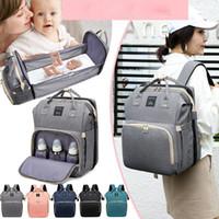Bolsa de pañales de gran capacidad Mamá Mochila de mochila Viaje Portátil Hombro Multifunción Plegable Bolsas de cama con estilo impermeable Paquete LJ201013