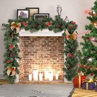 Décor de Noël 1.8M rotin artificiel fleur ornement d'arbre extérieur Garland Couronne Pendant Xmas Party Supplies Stairs porte décor