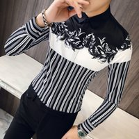 Vestido de ropa coreana de flores de rayas Hombres Casual Slim Fit Mens Print Party Club Shirt Camisa masculina Q0109
