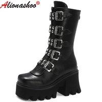 부츠 aliona shoo 섹시한 금속 버클 여성 가죽 가을 블록 힐 고딕 블랙 펑크 스타일 플랫폼 신발 여성 footwear1