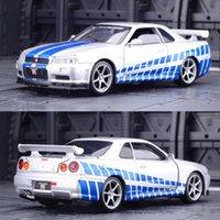 132 Nissan Skyline Ares GTR R34 Diecasts Toy Vehicles Metal Brinquedo Modelo de Carro Alta Simulação Puxar Coleção Coleção Kids Brinquedos