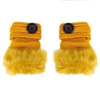 Fünf Fingers Handschuhe Winter Frau fingerlos ohne Faux Pelz Handgelenk Button Dekoration Knit Patchwork 1