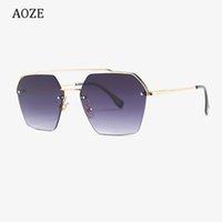 Sunglasses AOZE 2021 Fashion Semi-rimless Hexago Style Rivets Female Gradient Design Brand Oculos Feminino UV400