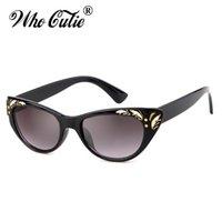 Who Cutie 2020 Gafas de sol Gato Negro Gafas de sol Mujeres Diseñador de marca de alta calidad Retro Vintage Cateye Marco Gafas de sol Trasas OM693