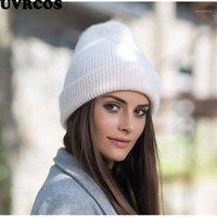 UVRCOS Yeni Şeker Renkler Kış Şapka Kadın Örme Şapka Sıcak Kış Yumuşak Trendy KPOP Tarzı Yün Beanie Zarif Tüm Maçı1
