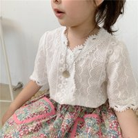 School Toddler Girl White Shirt Short Sleeve Summer Kid Clothes Cute Baby Girls Floral Lace Blouses Child Cardigan Tops Tees 7 8 C1031
