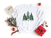 Felpa natale Vintage Tre Christmas Trees Green Colorato Sweats Donne Divertente Moda Autunno Abbigliamento Vestiti TOP Sweats1