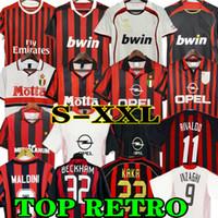 Kaka 90 91 Retro casa camisetas 96 97 Gullit Soccer Jersey 02 03 04 Maldini Van Basten Football Ronaldo Inzaghi AC 06 07 Milan 09 10 Shevchenko