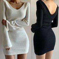 المرأة مثير الخامس الرقبة bodycon البسيطة اللباس 2021 ربيع الخريف الأزياء نقية اللون طويل الأكمام ضئيلة أسود نحيل فساتين قصيرة للمرأة 1