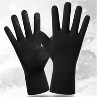 Negro Deportes al aire libre Guantes de invierno cálido Hombres Mujeres a caballo de esquí guantes térmicos a prueba de viento, además de terciopelo antideslizante pantalla táctil Guante KKA1706