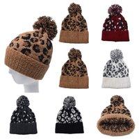 Nuova lana Leopard Print Berretti Donne Pelliccia pompon lavorato a maglia cappello di inverno caldo della protezione della ragazza beanies del partito del cappello il trasporto marittimo DDA633