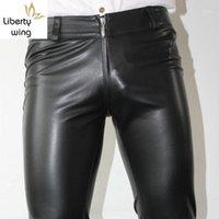 Männer Hosen Sexy Reißverschluss Designer Mens Dünne Bleistift PU-Leder Dehnbarer Mann Lange Hosen Punk Plus Size Motorrad Biker Hosen1