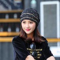 Beanie / черепные колпачки женские шляпы кружевные хрусталь дышащая шляпа тюрбан капота моды солнцезащитный крем солнцем ветрозащитный теплый черный шап