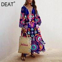 Günlük Elbiseler Deat Elbise Kadınlar Çiçek Baskı Püskül Büyük Boy Puf Kol Derin V Yaka Tarzı Uzun Uzunluk 2021 Yaz Moda HC259
