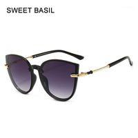 Сладкий базилик 2020 старинные кошка глаз солнцезащитные очки женщины негабаритные круглые солнцезащитные очки ретро очки женские сплава ноги oculos uv4001